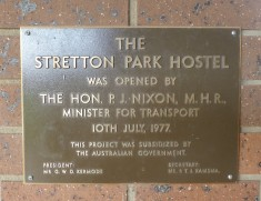 Plaque for official opening 1977
